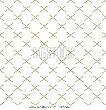 Abstract Simple Pattern With Golden Criss-cross Lines. White And Gold Ornamental Background. Seamles