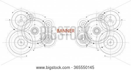 Engineering Technical Drawing On A White Background. Rotating Mechanism Of Round Parts .gears On A W