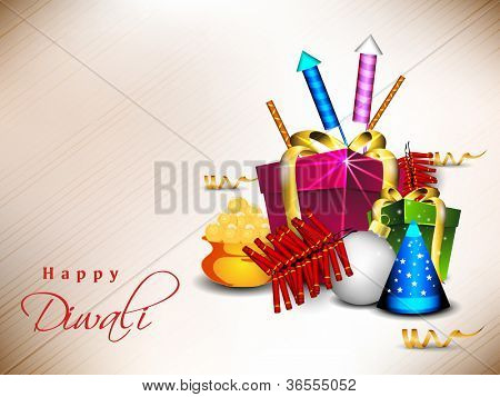 Beautiful background for Hindu community festival Diwali or Deepawali in India with sweets, gifts and firecrackers. EPS 10.