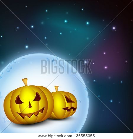 Scary pumpkins on shiny full moon night Halloween background. EPS 10. poster