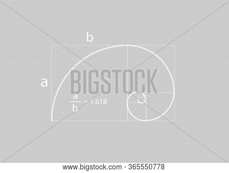 Golden Ratio. Fibonacci Number With The Mathematical Formula, Golden Section, Divine Proportion And