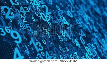 Abstract Numbers background - Mathematical, Numbers concept. 3d rendering