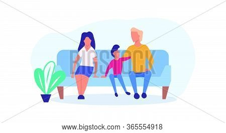 Family Enjoying Time Together With Child Vector Cartoon Illustration. Father, Mother And Son Fun Lif