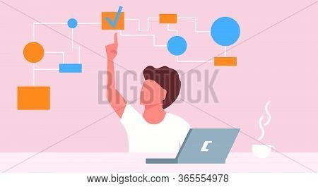 Illustration Multitasking Busy Work Business People. Office Cartoon Concept Character Job Multi Stre