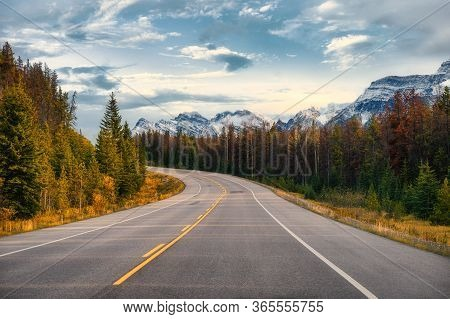 Scenic Road Trip With Rocky Mountain In Autumn Forest At Icefields Parkway, Canada