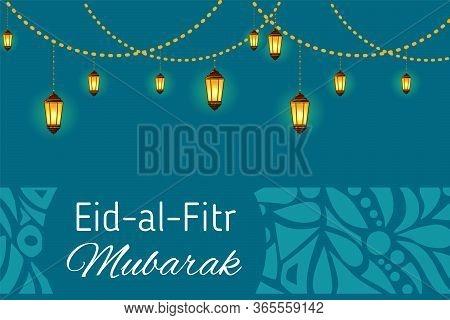Greeting Card Template For Muslim Community Festival Eid Al Fitr Mubarak With Decorative Ornament.