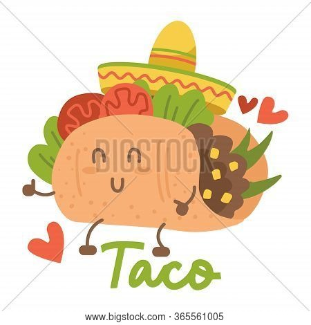 Smiling Kawaii Eyed Taco Dancing Mexican Sombrero Hat. Cartoon Vector Illustration Isolated On White