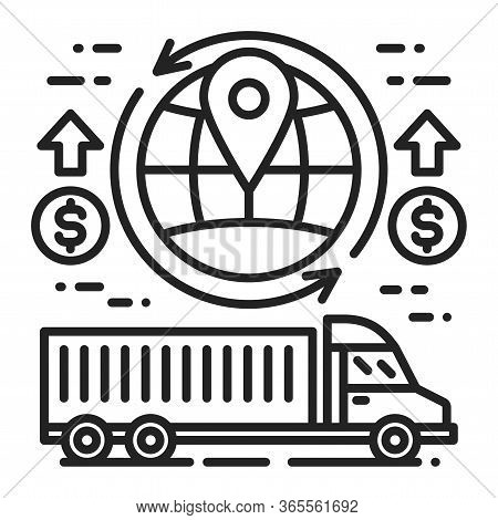 World Shipping Black Line Icon. Increase In Value For Export And Import. Economic Crisis. Sign For W
