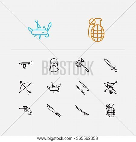 Equipment Icons Set. Battle Axe And Equipment Icons With Sword, Bugle And Balaclava. Set Of Edge For