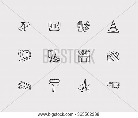 Industry Icons Set. Drill Machine And Industry Icons With Tool Box, Rubber Boots And Putty Knife. Se