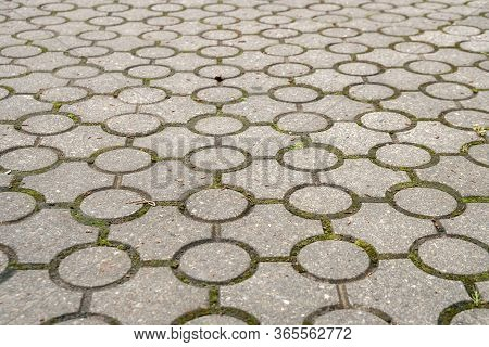 Stone Pavement Texture. Abstract Background Of Old Cobblestone Pavement