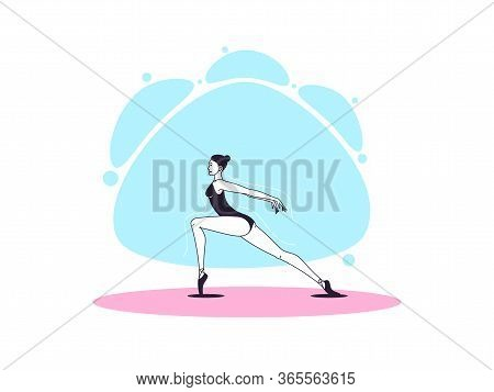 Graceful Ballerina Woman In Outline Minimalist Style. Ballet Dancer. Ballet Posture And Posing, Danc