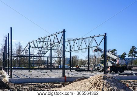 Construction Of A Metal Truss Frame For A New Production Building