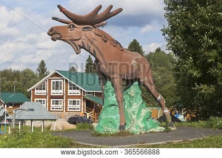 Sokolsky District, Vologda Region, Russia - August 20, 2019: Sculpture Of A Moose At The M8 Highway