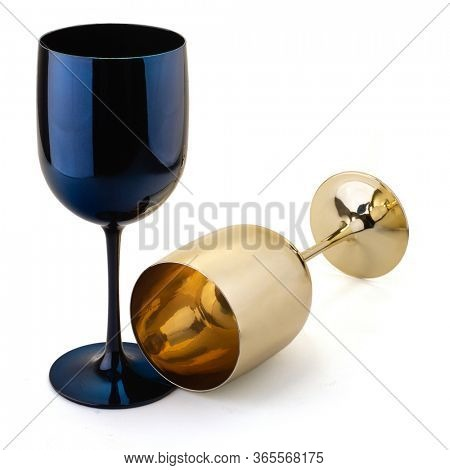Realistic wine glass. Blue and golden wine glasses for gourmets. Isolated glasses on wite background for festive events