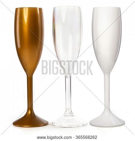 Realistic champagne glasses. Three  champagne glasses  for gourmets. Isolated glass cup on wite background for festive events