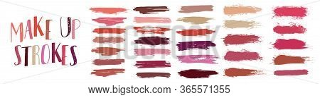 Swatches Makeup Strokes. Lipstick Strokes For Color Presentation. Set Beauty Cosmetic Nude Brush Sta