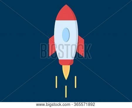Rocket Illustration Flying In Space. Spaceship Flight To Startup Business. Idea Concept In Flat Desi