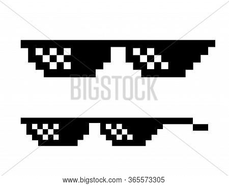 Pixel Glasses In Boss Style. Black Sunglass In 8 Bit. Eyeglass Meme In Funny Design. Isolated Cool S