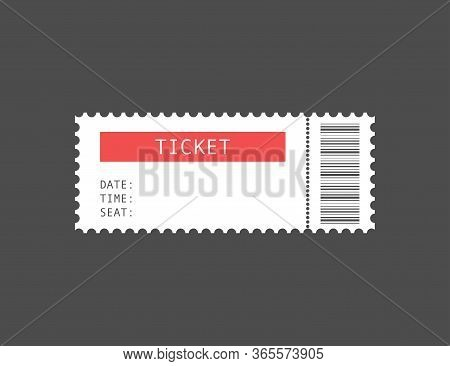 Cinema Or Theater Ticket. Coupon For Event Or Movie Show. Paper Entry Label With Date, Time And Seat