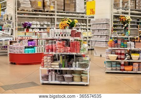 Moscow, Russia - February 29, 2020: Showcase Of A Hypermarket, Household Goods Department, Home Deco
