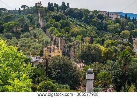 Florence, Italy - August 16, 2019: Gardens Boboli And Ancient Wall View From The Square Piazzale Mic
