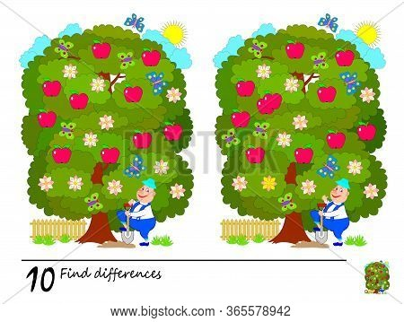 Find 10 Differences. Logic Puzzle Game For Children And Adults. Printable Page For Kids Brain Teaser