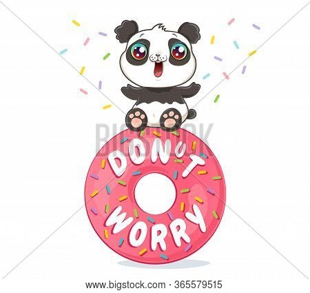 Vector Illustration Of A Cute Panda On Pink Donut In Kawaii Style. Vector Poster Of Donut With Text