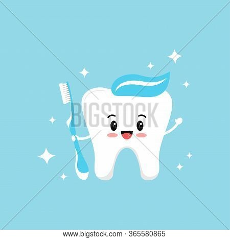 Cute Tooth Emoji With Blue Toothbrush Paste On Head And Sparkles. Flat Design Cartoon Kawaii Style S