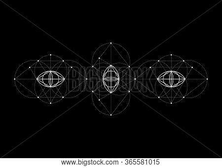 Vesica Piscis Sacred Geometry. All Seeing Eye, The Third Eye Or The Eye Of Providence Inside Triangl