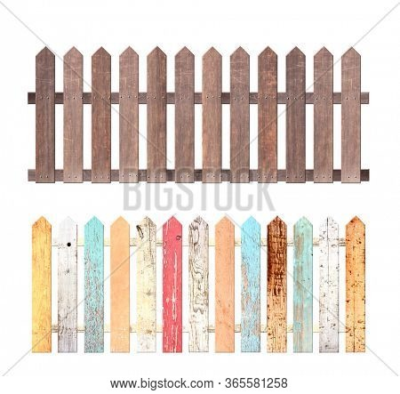 Set of rustic wooden fence. Garden fence with wood planks and with metal rivets. Old fence with vintage boards with cracked paint of red, orange and blue color. Isolated on white background. 3d render