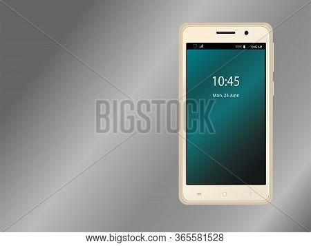 The Layout Of The Smartphone In Gold Color With A Gradient Screensaver. Wireframe Template. Vector I