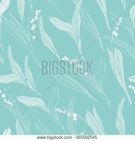Vector Elegant Botany Lily Of The Valley Pastel Reepat Pattern With Hand Drawn Outline And Shape On