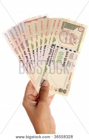 Hand With Indian Rupee Notes