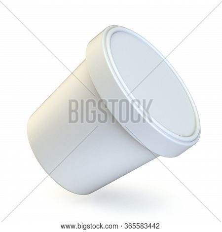 White Ice Cream Tub Side View 3d Render Illustration Isolated On White Background