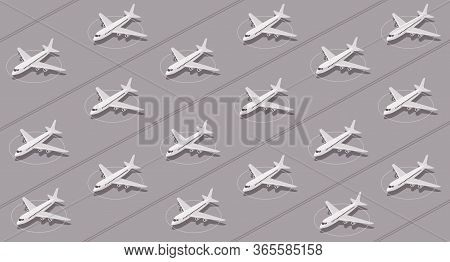 Planes Grounded By Coronavirus Pandemic Sit Idle At Airport. Flat Vector Pattern.
