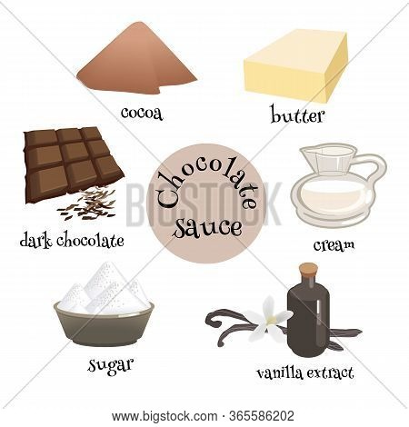 Set Of Cocolate Sause Ingredients. Dark Chocolate, Cocoa, Cream, Sugar, Butter And Vanilla Extract F