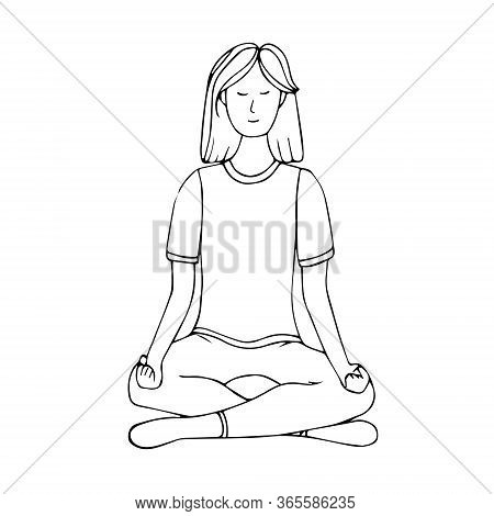 A Young Girl Is Engaged In Hatha Yoga. Lotus Position. Relaxation.gymnastics, Healthy Lifestyle. Doo