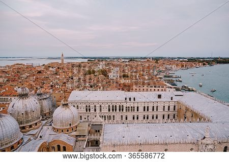 The Ferry Pier And Mooring Place For Gondolas - San Marco-san Zaccaria In Venice, Italy. Aerial View