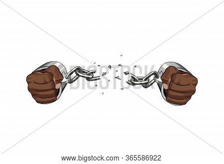 Free Slave Broken Handcuffs Chain. African Hands. Vector Graphic Illustration Freedom Broken Chain