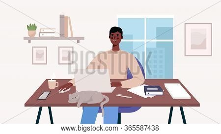 Man Working At Her Desk With Laptop. Home Office. Freelance Or Studying Concept. Daily Life Of Freel