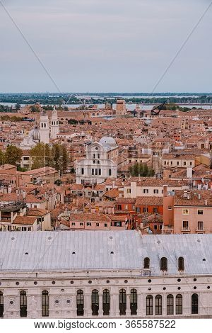Aerial View From Huge Cathedral Bell Tower San Marco Campanile Of The Church Of San Zaccaria And San