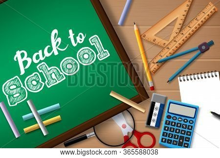 Back To School Vector Concept Design. Back To School Text In Chalk Board With Student Supplies Like