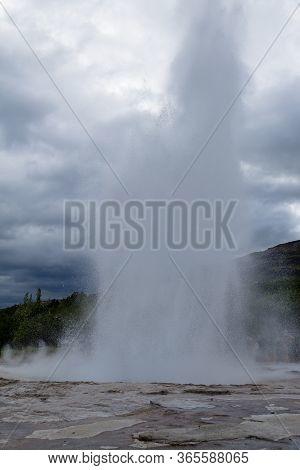 Strokkur Geothermal Area. Strokkur Geyser Eruption, Iceland