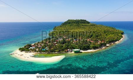 Himokilan Island, Leyte Island, Philippines. Tropical Island With A Village And A White Beach. Tropi