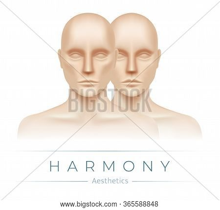 Man And Woman Standing Together In A Peaceful Manner. Aesthetics Clinic Flyer Card Vector Design. A