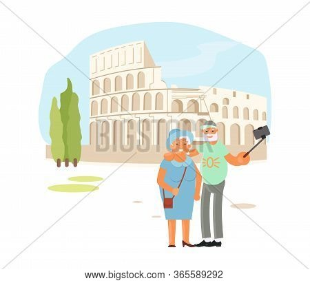 Romantic Elderly Couple Are Taking Selfie Photo With Self Stick With Coliseum In Roma. Cute Cartoon