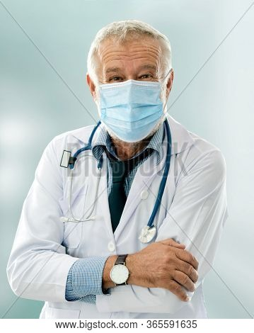 Doctor Wear Face Mask In Hospital Protect From Coronavirus Disease Or Covid-19. Medical Staff Are Hi