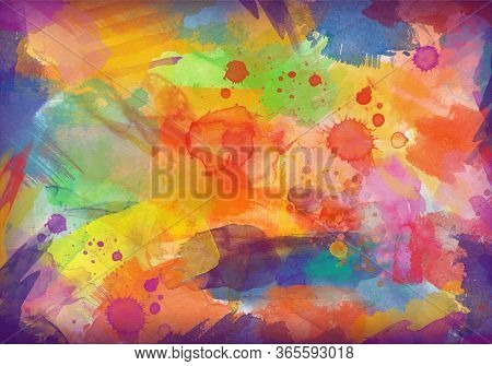 Multi Colored Aquarelle Painted Background. Abstract Fantasy Painting Colorful Multicolor Material P