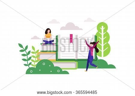 Distance Education. Young Woman Working With Laptop While Sitting On Stack Of Giant Books. Student S